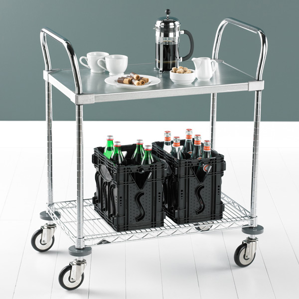 Metro Commercial Solid Shelf Serving Cart Galvanized & Chrome