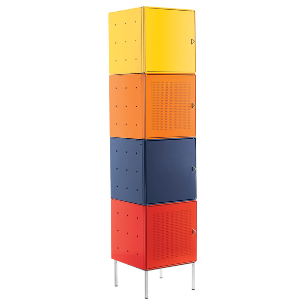 QBO Steel Cube Tower with Base Enameled Multi-Color