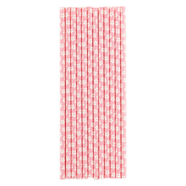 Paper Straws Flowers Pink Pkg/25