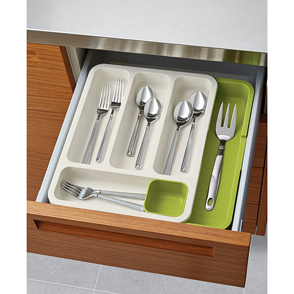Green & White Expandable DrawerStore™ Cutlery Tray by Joseph Joseph®