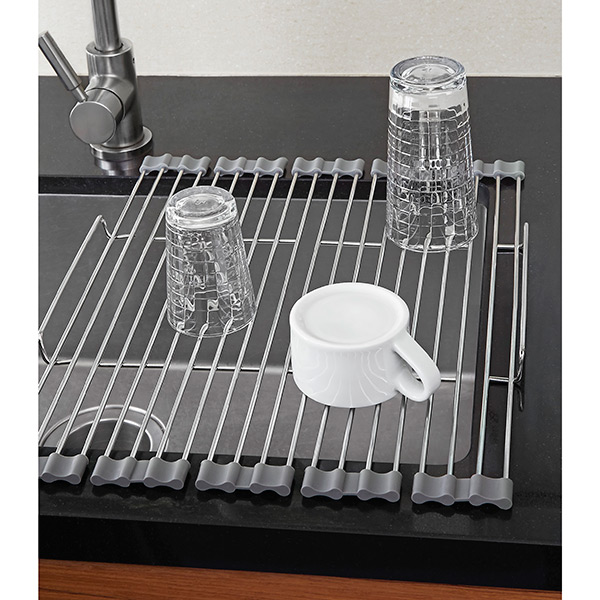 Stainless foldable drying rack the container store - Kitchen sink drying rack ...