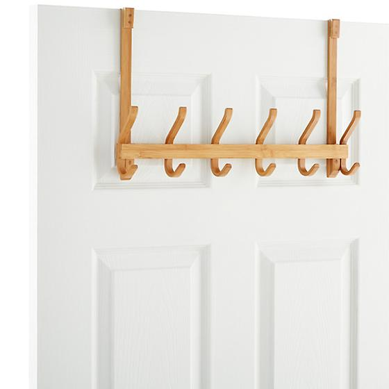 6-Hook Bamboo Overdoor Rack