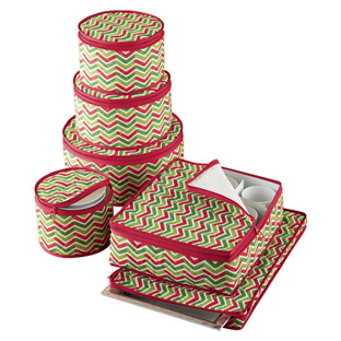 6-Piece Chevron Holiday Dinnerware Storage Set