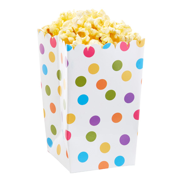 Multi Dot Popcorn Boxes Pkg/6