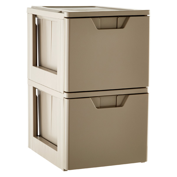 Case of 2 Stackable Storage & File Drawers Taupe