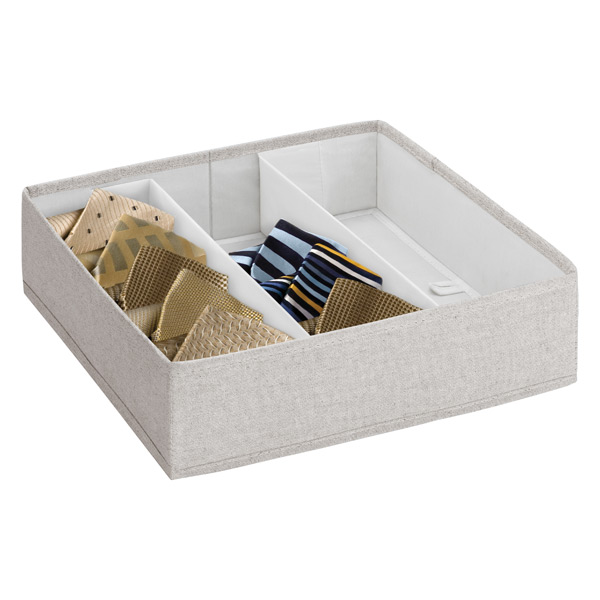 3-Section Adjustable Twill Drawer Organizer Cocoa