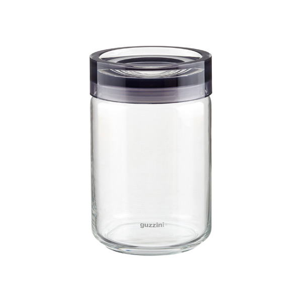1 qt. Grigio Glass Canister Grey Acrylic Lid