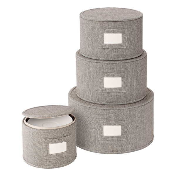 Round Plate Storage Cases Brown Twill Set of 4