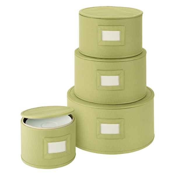 Round Plate Storage Cases Green Set of 4
