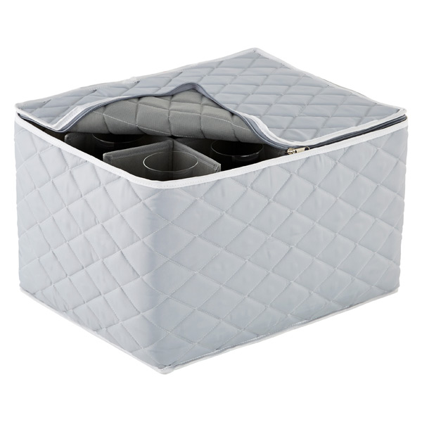 Quilted Stemware Storage Case Grey
