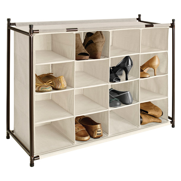 16-Section Shoe Cubby Natural