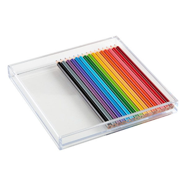 Square Pencil Tray Clear