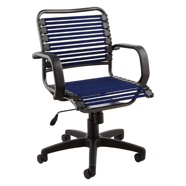 Navy Flat Bungee fice Chair with Arms