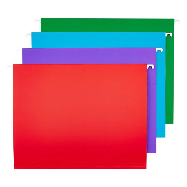 Letter- Size Hanging File Folders Assorted Colors Pkg/12