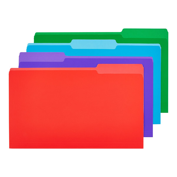 Legal- Size Interior File Folders Assorted Colors Pkg/12