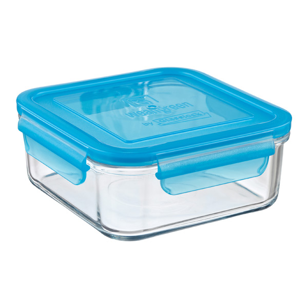31 oz. Square Glass Container Blue Lid