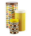Orla Kiely Brown & Yellow Round Canister Set