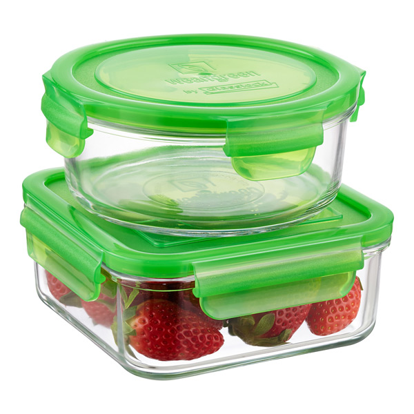 Glass Containers with Green Lids