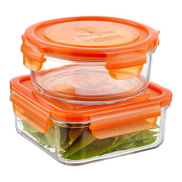 Glass Containers with Orange Lids