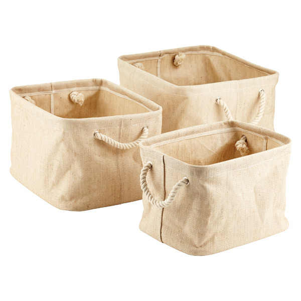 Jute Bins with Rope Handles