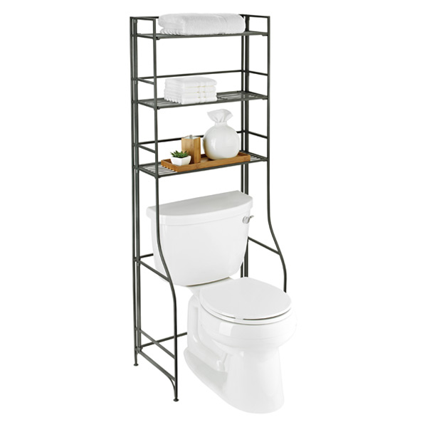 Over-the-Tank Bathroom Etagere Pewter