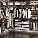 Walnut & White elfa décor Master Walk-In Closet