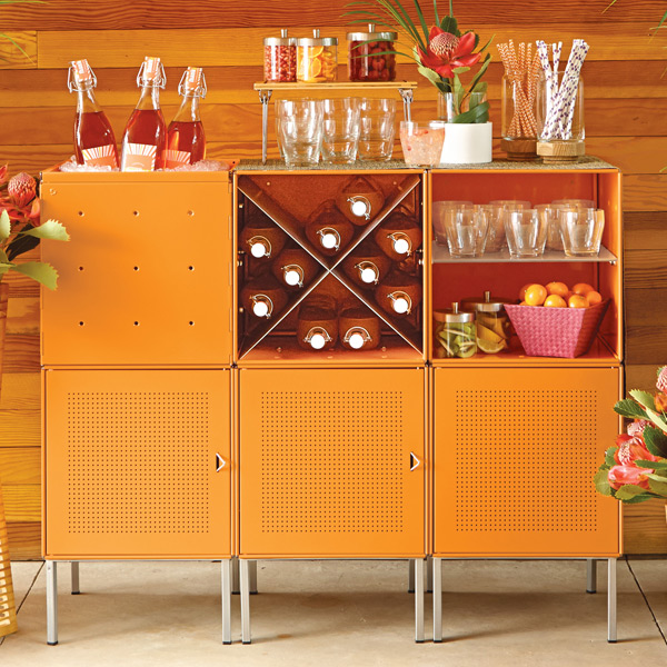 QBO Steel Cube Bar Enameled Orange