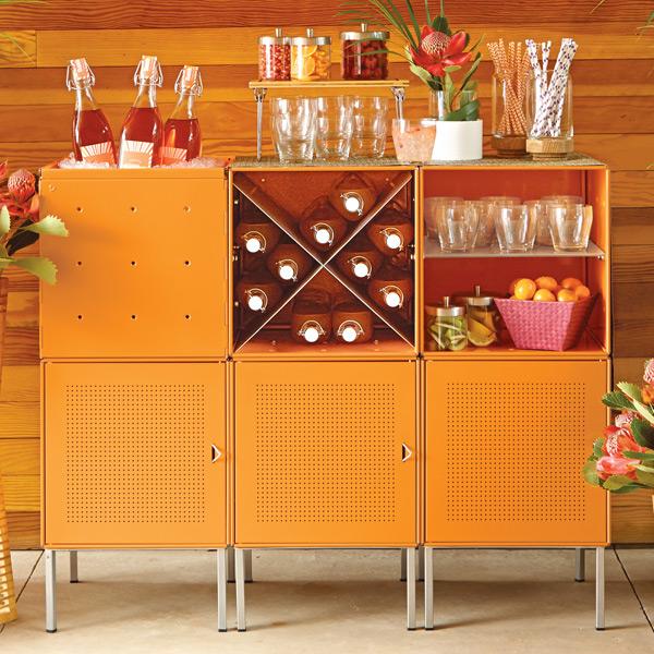 QBO Steel Cube Bar Enameled Orange