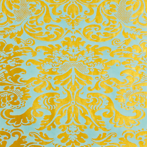 Wrap Damask Foil Gold/Aqua