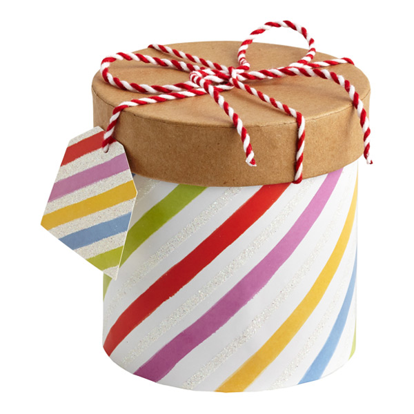 Round Twine Trinket Box Multi Stripe