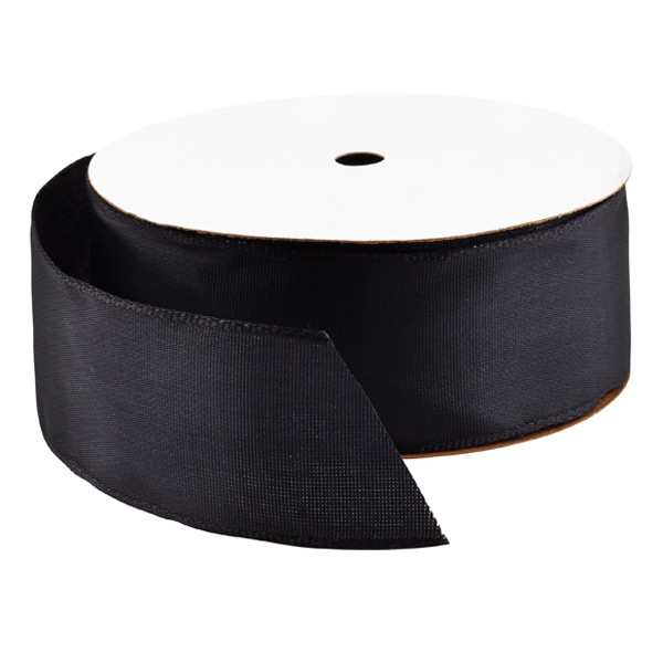 Bright Black Wired Ribbon