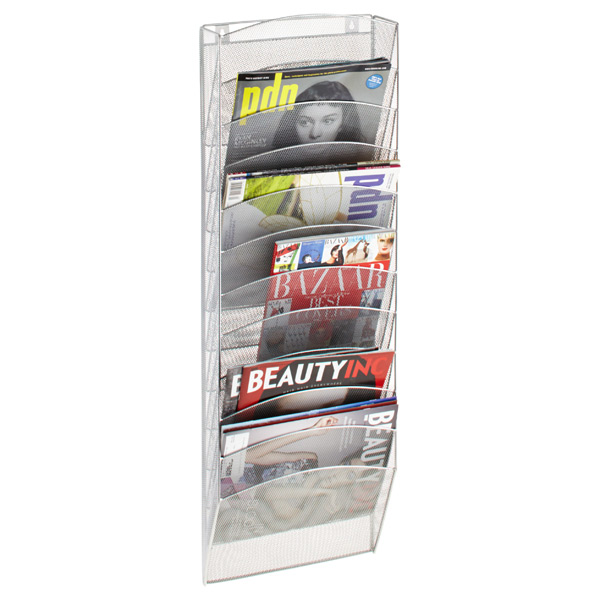 12-Pocket Mesh Wall Rack Silver
