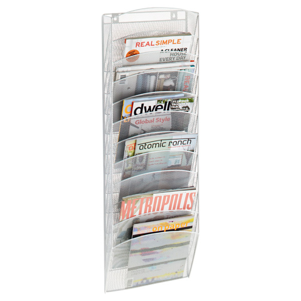 12-Pocket Mesh Wall Rack White