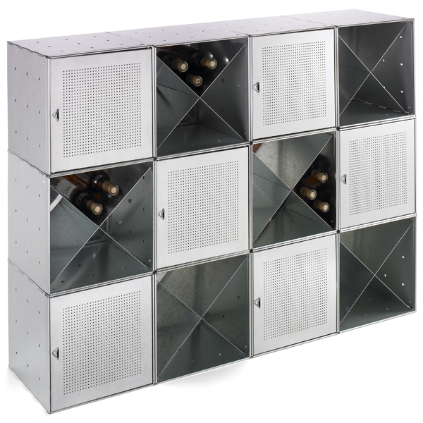 Steel Cube Wine Bar Galvanized