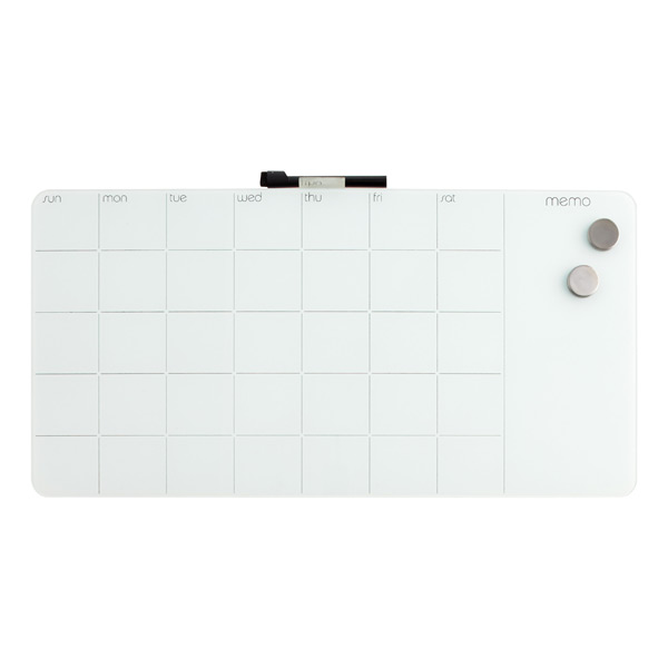 Monthly Glass Magnetic Dry Erase Board White