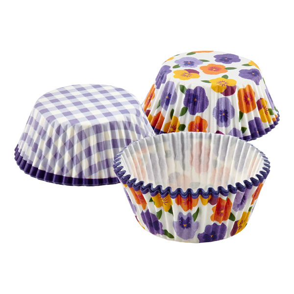 Pansies & Gingham Cupcake Cases