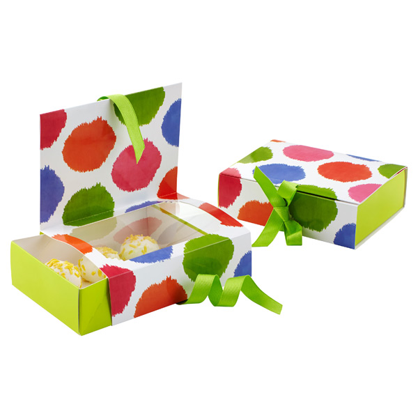 Food Gift Boxes with Window Ikat Dots Pkg/2