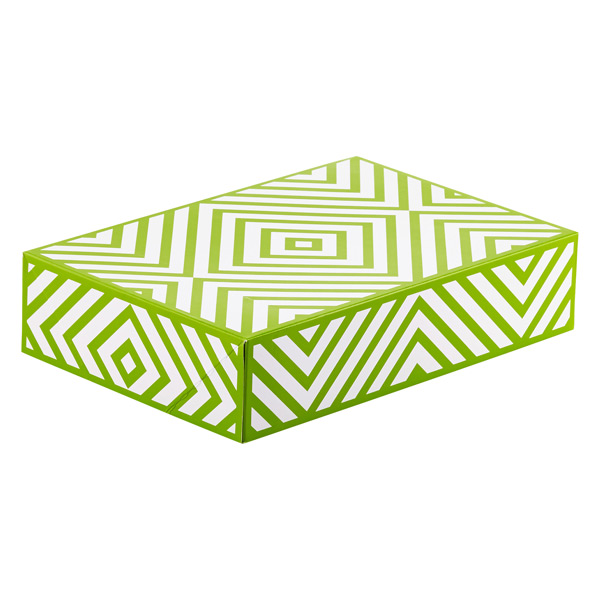 Food Gift Boxes Green Chevron Pkg/2