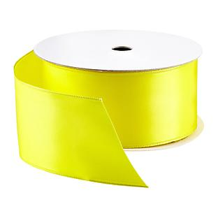 Yellow Double-Faced Satin Wired Ribbon
