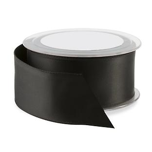 Black Double Satin Wired Ribbon