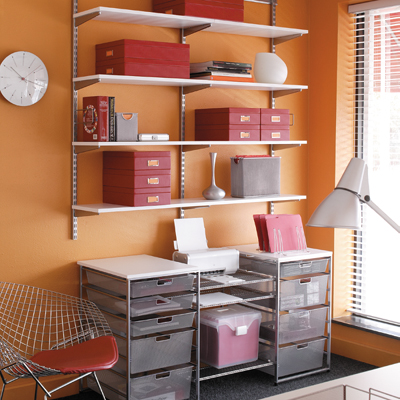 White & Platinum elfa Home Office Storage