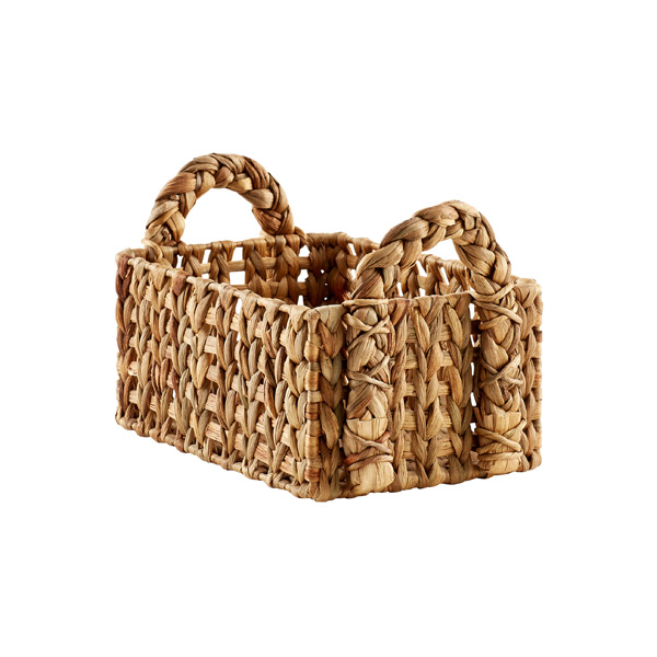 Small Open-Weave Water Hyacinth Bin Natural