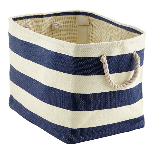 Navy Amp Ivory Rugby Stripe Bins The Container Store
