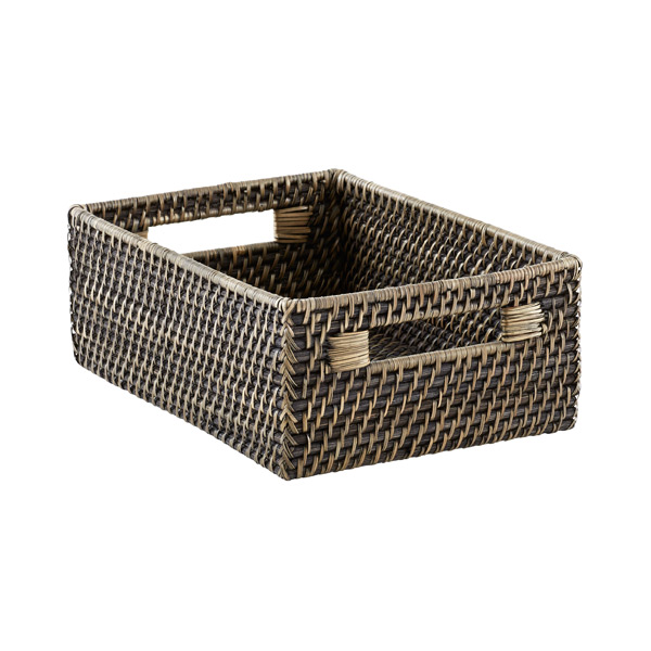 Medium Rattan Bin Blackwash
