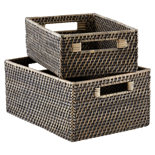 Blackwash Rattan Bins