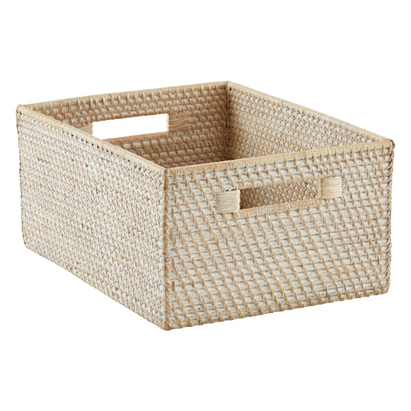Large Rattan Bin Whitewash