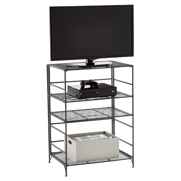 4-Shelf Iron Folding Media Center Pewter