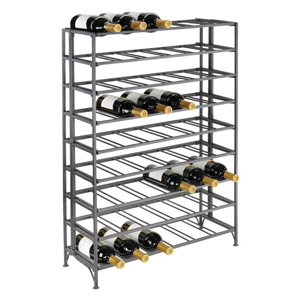 54-Bottle Iron Folding Wine Rack Pewter