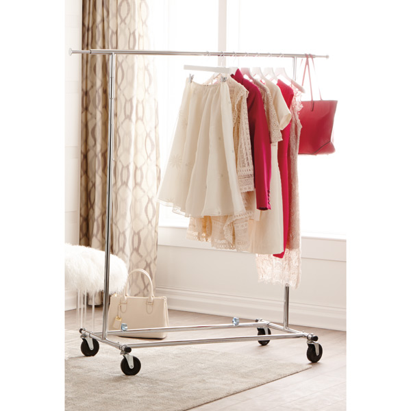 Chrome Metal Folding Commercial Clothes Rack The