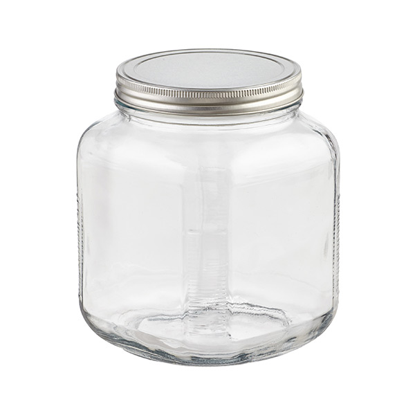 2 qt. Glass Cracker Jar Aluminum Lid